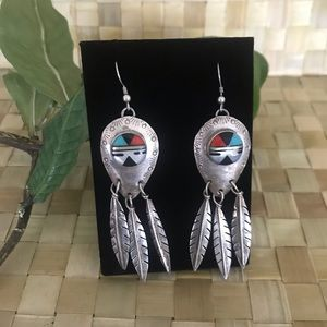 Authentic Native American Sun Face Zuni Earrings